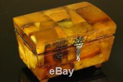Natural Vintage 158. G. Butterscotch Egg Yolk Baltic Amber Stone jewelry Box C298