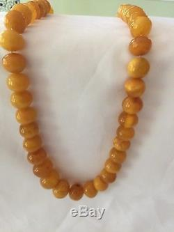 Natural Vintage Antique Baltic Amber OLD BUTTERSCOTCH EGG YOLK BEADS Necklace
