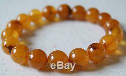 Natural Vintage Egg Yolk Butterscotch Baltic Amber Round Bracelet! 12.00 mm