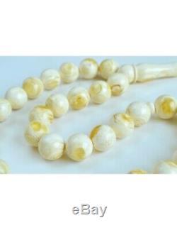 Natural White Amber Misbaha Rosary, Baltic Amber Round Beads, Baltic Amber Islam
