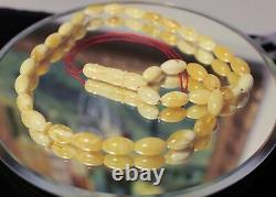 Natural White -marbled Baltic Amber Islamic Prayer Rosary 33 Olives Tasbih