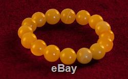 Natural Yellow Baltic Amber Round Bracelet! 15.68g R101024