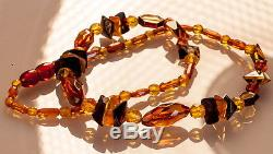 Natural Yellow Brown Cognac Baltic Amber Bead Necklace 13.07g R101057