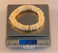 Natural Yellow Milky Baltic Amber Disc Bracelet 21.95g R101023