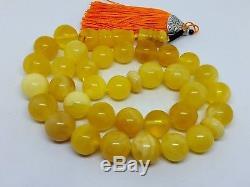 Natural baltic amber ISLAMIC 33 PRAYER BEADS ROSARY Honey White Marble 86.37gr