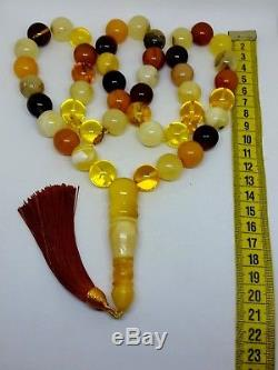 Natural baltic amber ISLAMIC 45 PRAYER BEADS Big ROSARY Multicolors 121 gr