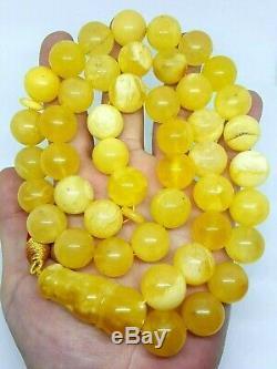 Natural baltic amber ISLAMIC 45 PRAYER BEADS ROSARY Honey Marble Muddy 100.3gr