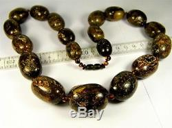 Natural genuine real Black Baltic Amber olive shape necklace 152g authentic 1gin