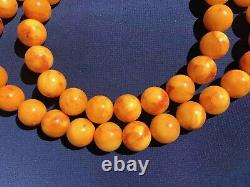 Natural old Egg Yolks Baltic amber stone necklace 68 gram