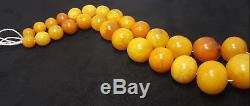 Necklace Natural Amber Baltic Bead Old 89 g Vintage White Z-001