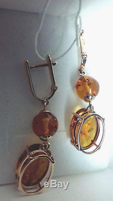New Russian Solid 14k 585 Rose Gold Natural Baltic Amber Earrings 4,76gr