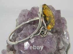 Nice! Sterling Silver Hinged Bangle Bracelet w Huge Baltic Amber