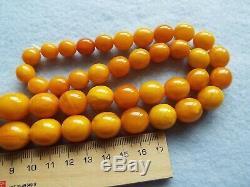 Nice Vintage Antique Natural Baltic Amber Olive Beads Necklace 86gr