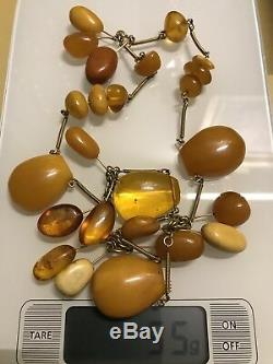 OLD RUSSIAN NATURAL BALTIC AMBER EGG YOLK BUTTERSCOTCH NECKLACE BEAUTIFUL 55g