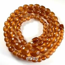 Old Baltic Faceted Amber Necklace Graduated Round Beads 47,5 gm Russian Amber