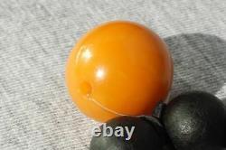 Old Baltic Hand Black Amber Bracelet Beads 16 Grams