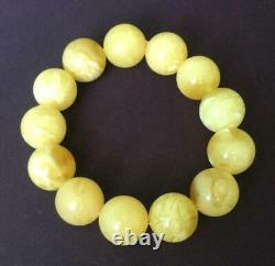 Old Baltic Natural Amber Bracelet Butterscotch 30gr Beads Royal White Egg Yolk