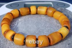 Old Baltic natural amber bracelet 13 grams. YELLOW, WHITE COLOR BEADS BRACELET
