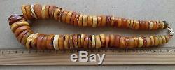 Old Beads Raw Natural Antique Baltic Vintage Amber OLD EGG YOLK Necklace 113 g