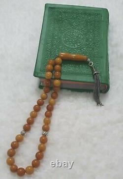 Old Butterscotch Baltic Amber Islamic Prayer Rosary Tasbih Misbaha 10 mm 32 gr