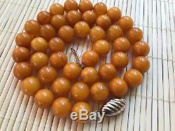 Old Geniune Natural Antique Baltic Vintage Amber jewelry stone Necklace Beads
