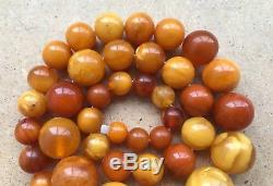 Old Geniune Natural Antique Baltic Vintage Amber jewelry stone Necklace Gem Nice