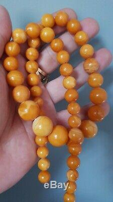 Old Natural Antique Baltic Amber beads Egg Yolk Butterscotch Beads 43 grams