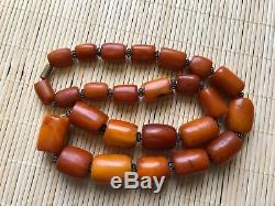 Old Natural Antique Baltic Amber jewelry Necklace Islamic rosary 19th century