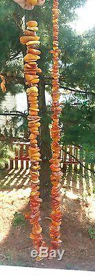 Old Natural Baltic cognac honey egg yolk AMBER raw beads Necklace 322 grams WOW
