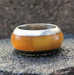 Old Natural Flush Inlay Baltic Butterscotch Egg Yolk Amber Sterling Silver Ring