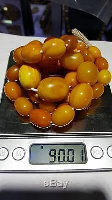 Old Vintage Egg Yolk Butterscotch Natural Baltic Amber Necklace 90.01 Grams