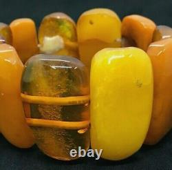Old Vintage Natural BALTIC AMBER BRACELET Egg Yolk Butterscotch Beads 68g 215S