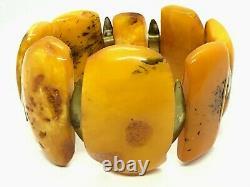 Old Vintage Natural BALTIC AMBER BRACELET Egg Yolk Butterscotch Beads 79g 13143