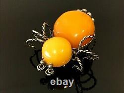 Old Vintage Natural BALTIC AMBER BROOCH Spider Egg Yolk Butterscotch 9g 11417