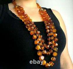 Old Vintage Natural BALTIC AMBER NECKLACE Yellow Honey Beads Faceted 138g 11358