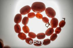 Old genuine antique EggYolk Honey Butterscotch Baltic Amber beads Necklace 75gr