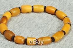 Old natural Baltic amber bracelet 10 grams, men women cylinder beads bracelet