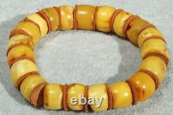 Old natural Baltic yellow color amber beads bracelet 22 grams