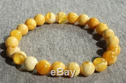 Old natural marble, white amber bracelet, old white hand string bracelet