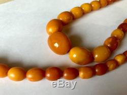 Olive beads from natural whole Baltic amber German prewar 30s 20.8 gr