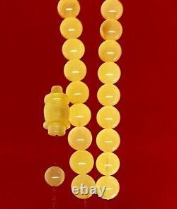 One stone Baltic Amber Rosary 36.0 Gr Islamic 33 Prayer Beads 100% NATURAL