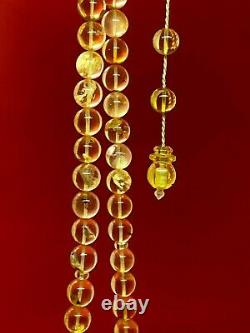 One stone Baltic Amber Rosary 39.6Gr 11.2mm Islamic66 Prayer Beads 100% NATURAL