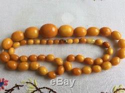 Original Antique Butterscotch Natural Baltic Amber Bead Necklace! 65g! Art Deco