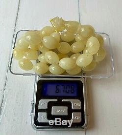 Premium 67gr. White Baltic Amber Islamic Prayer Rosary Olive Beads Tesbih Misbah