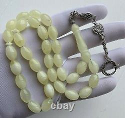 Premium White Natural Baltic Amber 33g Islamic Prayer Rosary Beads Tesbih Misbah