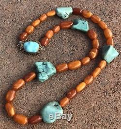 RARE CHINESE SILVER NATURAL BUTTERSCOTCH BALTIC AMBER & TURQUOISE NECKLACE 82.6g