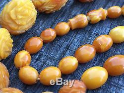 Rare Eggyolk Caramel Butterscotch Natural Baltic Amber Necklace Prayer Beads