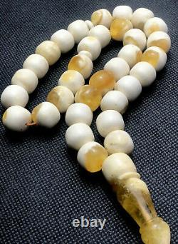 RARE Natural Baltic Amber Prayer Beads 62gr White Egg