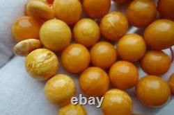 RARE! Natural Butterscotch Egg Yolk Baltic Amber Necklace Praying Beads