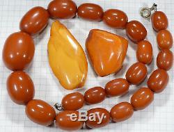 RARE genuine antique ORANGE EggYolk Butterscotch Baltic Amber beads 75.6gr